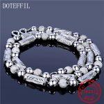 925 <b>Sterling</b> <b>Silver</b> <b>Jewelry</b> Men Necklace Classic Domineering Scrub Beads Solid <b>Silver</b> Chain Necklace <b>Jewelry</b>
