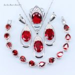 L&B Round red Created garnet White zircon <b>Silver</b> 925 Jewelry Sets For Women Drop Earrings/Rings/Pendant/<b>Bracelets</b>