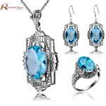 Turkish Vintage Jewelry Sets Sculpture Sky Blue Rhinestone Pendant & <b>Earrings</b> Ring Crystal 925 <b>Silver</b> Women Dress Sets Bijoux