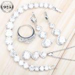 925 Sterling Silver Women <b>Jewelry</b> Sets White Zircon Earrings With Stones Necklace Pendant Earrings Rings Bracelets Set Gift Box