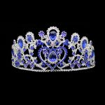 Large Big Royal Blue Crystal Queen Tiara Bridal Bride Hair <b>Jewelry</b> Diamante Heart Charms Crown For Wedding Pageant Prom