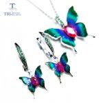 TBJ,New enamel animal cubic zircon jewelry set vivid butterfly design pendant <b>earring</b> in 925 sterling <b>silver</b> for women gift
