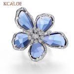 KCALOE Luxury Blue Transparent Crystal Big Flowers Rings For Women Rhinestone Wedding Engagement Ring <b>Fashion</b> <b>Jewelry</b> Anel