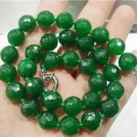 Faceted round 10mm fashion green chalcedony beads jades trendy clasp chain necklace for women <b>jewelry</b> <b>making</b> about 18 inch BV150