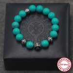 Turquoise men's Strand <b>Bracelets</b> personalized retro classic punk style unique S925 cross hip-hop fashion to send lover's gift