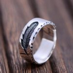 925 Sterling Silver <b>Jewelry</b> Creative Feather Ring For Women And Men Vintage Type Simple Fine <b>Jewelry</b>