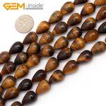 Gem-inside Natural Drop Teardrop Tiger Eye Stone Beads For <b>Jewelry</b> <b>Making</b> 10X14mm 15inches DIY Jewellery