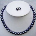 BEAUTIFUL AAA 8-9mm south sea black pearl necklace 18 inches + <b>earrings</b>