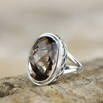 100% Genuine 925 <b>Sterling</b> Smoky Quartz <b>Silver</b> Ring for Women Vintage Natural Gemstone Gift Ring Thai <b>Silver</b> <b>Jewelry</b> Accessories