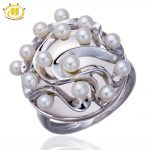 Hutang Luxury <b>Jewelry</b> Freshwater Pearl & Rose Quartz Solid 925 <b>Sterling</b> <b>Silver</b> Ring Party Fine Gemstone <b>Sterling</b>–<b>silver</b>–<b>jewelry</b>