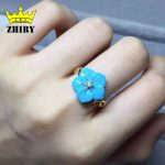 Real Blue Turquoise ring natural gemstone genuine solid 925 <b>sterling</b> <b>silver</b> women <b>jewelry</b> Lady rings