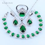 L&B Pretty Water Drop Green Imitation Emerald <b>silver</b> 925 Jewelry Sets <b>Bracelet</b>/Pendant/Necklace/Earrings/Ring