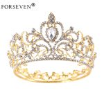 Vintage Gold Round Crystal Tiara Baroque Rhinestones Princess Queen Crown For Bride Hair Accessories Wedding Crown Hair <b>Jewelry</b>