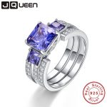 JQUEEN Top Quality Elegant 925 Sterling <b>Silver</b> Engagement Rings 4Ct AAA Tanzanite Stones Rings for Woman Fine <b>Jewelry</b> Y0062R01