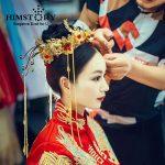 HIMSTORY New Luxury Chinese <b>Wedding</b> Brides Hair Accessories <b>Jewelry</b> LongTassel Red Rhinestone Headbands Queen Hair Tiaras Crown