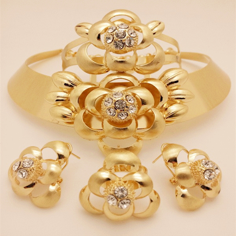 Kingdom Ma African Nigerian Wedding Bridal Big Flower Jewelry Sets
