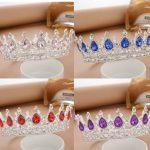 Princess Rhinestone Crystal Crowns Wedding Tiaras Party Accessories Head <b>Jewelry</b> (Blue+Silver)