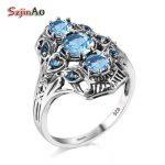 Szjinao 925 Sterling <b>Silver</b> Rings for Women Genuine Sterling <b>Silver</b> <b>Jewelry</b> Bohemia Vintage Aquamarine Marriage Ring Factory