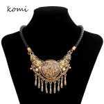 KOMi Woman Accessories <b>Jewelry</b> Luxury Brand Vintage Big Circle Brown Stone <b>Antique</b> Gold Color Pendant Metal Tassel N-317