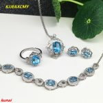 KJJEAXCMY boutique jewels 925 Sterling <b>Silver</b> with natural blue topaz shinv ring pendant <b>earrings</b> bracelet 4 suit jewelry neckla