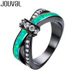 JOUVAL Charm Zircon Opal Rings For Women Vintage Fashion Black Gold Filled Female Ring Gothic <b>Jewelry</b> Party <b>Accessories</b>