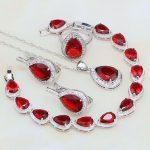 925 Sterling Silver <b>Jewelry</b> Red Rhinestone White CZ Bridal <b>Jewelry</b> Sets For Women Stud Earrings/Pendant/<b>Necklace</b>/Bracelet/Ring