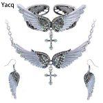 Yacq Angel Wing Cross <b>Necklace</b> Earrings Bracelet Set Women Biker <b>Jewelry</b> Birthday Gifts Her Mom Wife Girlfriend Dropshipping
