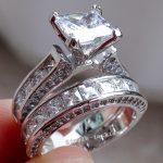 Fashion <b>Jewelry</b> <b>Handmade</b> Women fashion <b>jewelry</b> Cz 5A Zircon stone 14KT White Gold Filled Engagement Wedding Band Ring Set gift