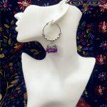 Original India <b>Handmade</b> Traditional Birdcage Earbob Purple Bead DIY Ancient Silver Round Big Earring Thailand Retro <b>Jewelry</b>