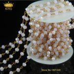 5meter/lot Hot Sale Wire Wrapped Beaded Rosary Chain Faceted Pink Jade Quartz Beads for <b>Necklace</b> Bracelet JD067