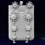 Designer Fashion 925 Sterling <b>Silver</b> Jewelry 3A Cubic Zirconia Party Long <b>Earring</b>