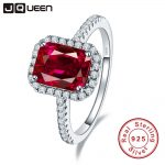 Hot Sale 3.6ct Pigeon Blood Red Ruby Engagement Wedding Ring Pure Solid 925 <b>Sterling</b> <b>Silver</b> Square Cut Fine <b>Jewelry</b> with box