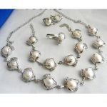 Nobility jewelry choker Natural 12MM White Baroque Freshwater pearl necklace <b>bracelet</b> earring ring set