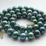 shipping17.5″ Genuine Natural 10mm Round Peacock Pearl <b>Necklace</b> #f1316