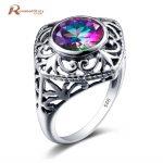 Korean 925 Sterling Silver Love Rose Ring Cushion Mystic Rainbow Topaz Crystal Cocktail Rings Retro <b>Handmade</b> Women Party <b>Jewelry</b>