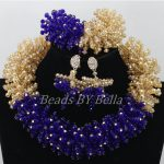 Popular Design <b>Handmade</b> Crystal African Wedding Beads Royal Blue Gold Nigerian Bridal <b>Jewelry</b> Sets 2017 New Free Shipping ABF987