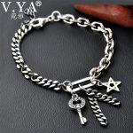 V.YA 925 Sterling Silver Key & Star Bracelet for Women Men Couple <b>Handmade</b> Thai Silver Link Chain Bracelets Male Fine <b>Jewelry</b>