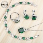 Green Zircon Women Silver 925 Costume <b>Jewelry</b> Sets Pendant Necklace Bracelets Earrings Rings With Stones Set Jewelery Gift Box