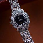 MetJakt Vintage Handmade Woven Thai <b>Silver</b> Zircon <b>Bracelet</b> Watch 925 Sterling <b>Silver</b> <b>Bracelet</b> for Women's Luxury Quartz Watch