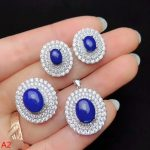 KJJEAXCMY boutique jewels 925 pure <b>silver</b> inlaid lapis lazuli Pendant + Necklace + Ring + <b>earrings</b> set of ladies jewelry