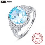 JQUEEN Oval Natural Sky Blue Topaz Ring Solid 925 Sterling <b>Silver</b> Rings For Women Charms Fashion Wedding <b>Jewelry</b> With Gift Box