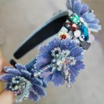 Baroque Mysterious Blue Flower Crown Tiaras Handwork Sequins Crystal Beads Hairbands Pendant <b>Wedding</b> <b>Jewelry</b> Hair Accessories