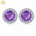 Hutang Classic Style Amethyst Stud <b>Earrings</b> Solid S925 Sterling <b>Silver</b> Purple Natural Gemstone Jewelry Women's Ladies Accessorie