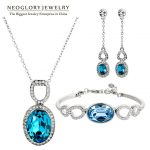 Neoglory Blue Crystal Rhinestone <b>Jewelry</b> Set <b>Necklace</b> Earrings Bangle Stylish Gifts 2015 New Engagement Romantic Fashion Brand