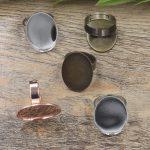 100pcs Cabochon 13*18mm OVAL Lace Pad ring blank Cameo Tray,Bronze/Gold/Silver Ring setting,<b>Handmade</b> DIY Zakka <b>jewelry</b> Finding