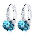 Giemi Brand New Design <b>Fashion</b> Charm Round Austrian Crystal Hoop Earrings 925 Sterling Silver Shiny Rhinestone <b>Jewelry</b> for women