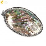 CSJA 1pc Suspension Necklace Pendant New Zealand Natural Abalone Shell Charm Rhinestone Beads DIY <b>Making</b> <b>Jewelry</b> Findings E215