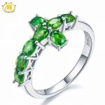 Hutang Natural Chrome Diopside Crosss Ring Solid 925 Sterling <b>Silver</b> Russia Emerald Vivid Green Gemstone Fine <b>Jewelry</b> For Women