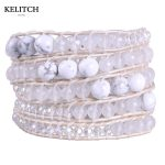 KELITCH <b>Jewelry</b> 8mm Irregular Stone Crystal Mixed 5 Wrap Leather Chain <b>Handmade</b> Femme Bijiux Women Bracelet Drop Shipping