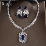RAKOL Fashion Cubic Zirconia Tag Necklace Earring <b>Jewelry</b> Set High Quality Big Square Zircon Stone Women <b>Wedding</b> Party <b>Jewelry</b>
